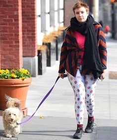 Girls star Lena Dunham dons colourful clothes as she walks dog Lamby #dailymail