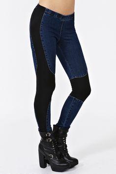 $52.00 Denim chap leggings. <3