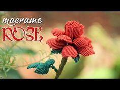 This Beautiful macrame ROSE will melt any heart - step by step tutorial - Thắt hoa hồng Macrame Bracelet Tutorial, Friendship Bracelets Tutorial, Macrame Bracelets, Loom Bracelets, Yarn Flowers, Crochet Flowers, Macrame Knots, Micro Macrame, Geek Cross Stitch