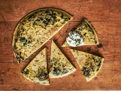 Persian Baked Omelet with Fresh Herbs - with red onion, lots of fresh herbs, spinach, pine nuts, eggs, milk and greek yogurt, garlic