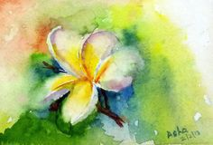 Frangipani Plumeria Flowers Watercolors Original Art  WallArt WallDecor Impressionistic watercolor Floral painting Small Affordable Gift art by ArtbyAashaa on Etsy