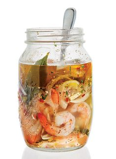 Hugh Acheson's Pickled Shrimp: Briny, faintly spicy pickled shrimp are a staple of Southern cuisine. Shrimp Recipes, Fish Recipes, Ceviche, Prawn, Seafood Dishes, Seafood Platter, Fermented Foods, Good Food, Preserving Food