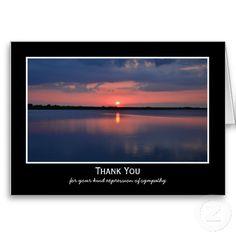 Shop Sympathy Thank You Note Card -- Gorgeous Sunset created by sympathythankyou. Sympathy Thank You Notes, Funeral Thank You Notes, Thank You Note Cards, Custom Thank You Cards, Funeral Cards, Happy Anniversary, Sunset, Landscape, Prints