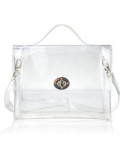 Hoxis Summer Beach Clear PVC Turn Lock Satchel Cross Body Bag DIY Decor Transparent Messenger Handbag ❤ ...