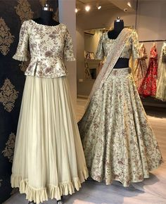 Different Peplum Lehenga Styles And Where To Shop Them is part of Choli dress - Check out super cool Peplum Lehenga Styles that you can wear from prewedding to your main wedding function Bonus, some casual ethnic wear peplum lehengas Lehenga Top, Lehenga Style, Bridal Lehenga Choli, Silk Lehenga, Anarkali, Plain Lehenga, Lehenga Skirt, Blouse For Lehenga, Lehenga Wedding