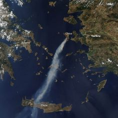Wildfire on Chios | In mid-August 2012, an intense wildfire broke out on island of Chios, in Aegean sea, Greece, sending a thick plume of smoke southward toward the island of Crete (Kriti).