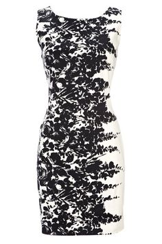 Black and white floral cotton dress