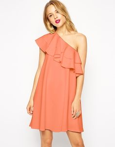 ASOS Swing Dress in Scuba with One Shoulder and Ruffle Detail