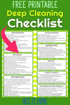 Deep cleaning schedule printable checklist - deep cleaning house checklist free printable - weekly, monthly and daily chores to keep house clean - daily cleaning routines for busy working moms Monthly Cleaning Schedule, Cleaning Checklist Printable, House Cleaning Checklist, Clean House Schedule, Cleaning Calendar, Cleaning Dust, Cleaning Hacks, Cleaning Routines, Daily Cleaning