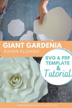 Large Paper Flowers, Tissue Paper Flowers, Giant Paper Flowers, Diy Flowers, Flower Svg, Flower Template, Flower Crafts, Diy Paper, Paper Crafts