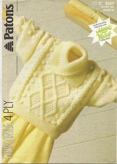 Vintage PDF Baby Knitting Pattern - Patons 8347 - sweater Instant Download