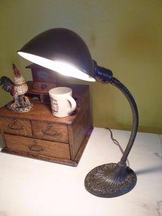 VINTAGE CAST IRON~GOOSENECK TABLE LAMP~ART DECO~INDUSTRIAL~WORKS Art Deco Table Lamps, Desk Lamp, Cast Iron, Vintage Items, Industrial, Cleaning, Gold, Ebay, Collection