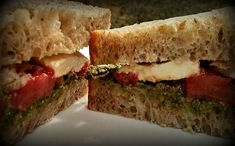 Napa Farmhouse 1885™: Tomato & Mozzarella Sandwich with Basil-Garlic Scape Pesto  #SummerSoiree #FoodNetwork #No-Cook #Pesto #Sandwich #Tomatoes