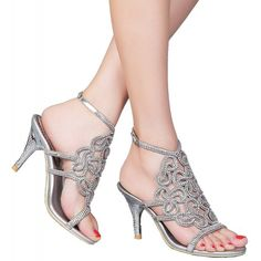 69255993aaf4 L019 Womens Unique Wedding Bride Bridesmaid Party Show Dress Cone Heel  Micro-Fiber Sandals - Silver - C1127ERZFWL. Silver Wedding ShoesHeeled ...
