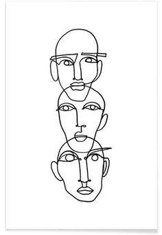 "- - – - - – - Faces - One Line Drawing lesagittarie ""Notion"" Linework by Julia Hariri Boredom Poster Art And Illustration, Art Inspo, Kunst Inspo, Art Abstrait Ligne, Art Sketches, Art Drawings, Abstract Drawings, Desenho New School, Art Du Croquis"