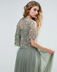 Needle and Thread Floral Embellished Top - Green Bridesmaid Skirts, Bridesmaid Dress Styles, Indian Wedding Gowns, Indian Dresses, Simple Gown Design, Latest Fashion Clothes, Fashion Dresses, Fashion Online, Needle And Thread Dresses