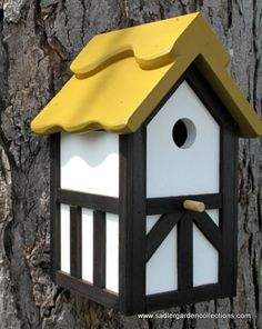 Outdoor wood, Painted Bird house/Nesting Box - Gold Roof Tudor style- Made in USA fully functional