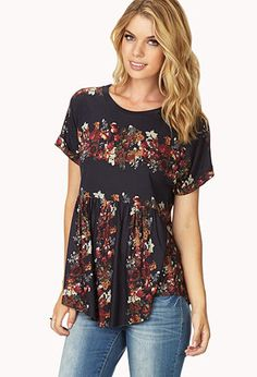 Throwback Smocked Floral Tee | FOREVER21 - 2031558271