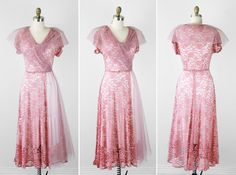 Vintage Clothing for Women 1940s | vintage 1940s 40s dress / pink wedding dress / by RococoVintage, $186 ...