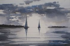 "Twilight Sail - 7.5x11"" original watercolor painting by Jim Oberst - $100 incl. U.S. shipping."