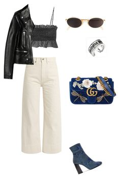 """Cruising the NY streets"" by ca-cammy ❤ liked on Polyvore featuring Brock Collection, Lisa Marie Fernandez, Gucci, Yves Saint Laurent, Free People, Moschino and Chrome Hearts"