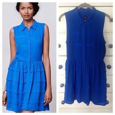 "Gorgeous NWT Anthropologie Tiered Shirt Dress Beautiful shirt dress in a royal blue color, size 6 petite, although would fit a regular 6. Never worn! By Sachin + Babi SB. Bust 18"", length 34"". Absolutely gorgeous! Anthropologie Dresses"