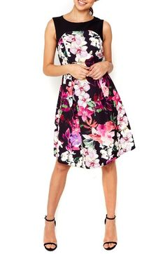 Free shipping and returns on wallis Dotty Orchid Belted Fit & Flare Dress at Nordstrom.com. A solid-color yoke offsets the lush orchid print of a charming fit-and-flare dress that accentuates the waist with a slender glossy belt.