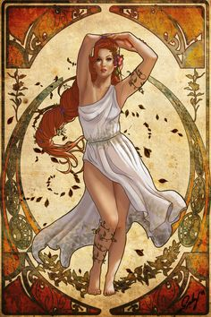 Persephone, Spring and Hades Goddess Nouveau by phoenixnightmare on DeviantArt Persephone Greek Goddess, Greek Goddess Art, Greek Mythology Art, Greek Gods And Goddesses, Hades And Persephone, Goddess Of Love, Greek Goddess Of Spring, Psychedelic Art, Greek Godesses