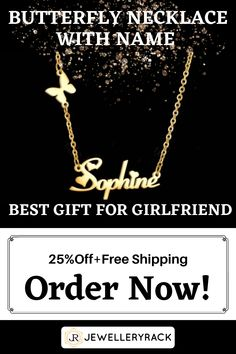 If you want a trendy customized gift, then you have come to right place . This fashionable new butterfly customized necklace with name is all what you need for a cute yet sophisticated trendy look. It is also the best birthday customized gift, customized anniversary present, or just customized necklace with name gift to show love and care ! Enjoy our offer of 25% off +Free Shipping for limited time ! Order now ! Etsy Jewelry, Charm Jewelry, Jewelry Shop, Jewelry Accessories, Fashion Accessories, Jewelry Necklaces, Fashion Jewelry, Dyi, Yarn Necklace