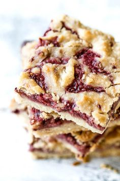 These strawberry almond oat bars are so tender and buttery that you'd never guess they're made without any butter at all! A healthy breakfast or snack.