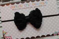 Petite Black bow headband newborn infant by DanicasChicBowtique, $7.00