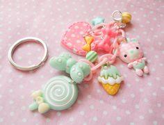 Kawaii Keychain Lollipop Keychain Kawaii Charms por KawaiiKiosk