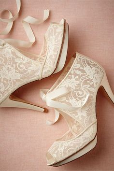 Elegant Creamy Lace Heels, would use these as my wedding shoes! Lace Booties, Lace Heels, Ankle Booties, Shoes Heels, Bridal Shoes, Wedding Shoes, Lace Wedding, Bhldn Wedding, Lace Bride