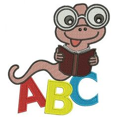 ABC Reading Worm Applique School Machine Embroidery Digitized Design Filled Pattern -Instant Download- 4x4,5x7,6x10