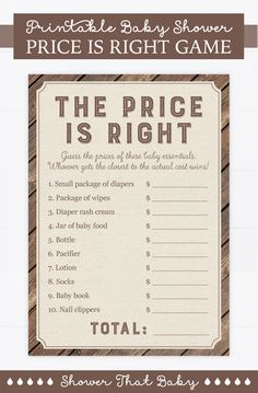 Are you looking for an interactive and fun game to play at your rustic baby shower? This printable wood and burlap price is right game is a great option and the items can double as a perfect gift for the new parents. Rustic Baby, Rustic Wood, Price Is Right Games, Woodland Nursery Boy, Document Printing, Baby Shower Welcome Sign, Baby Shower Printables, Baby Essentials