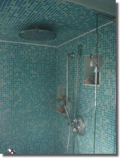 tiled ceiling with rainshower head