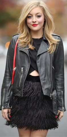 Girl's Night out look with feathered skirt & leather jacket. Click for more photos!