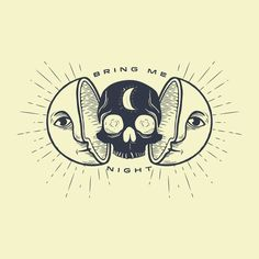 Kill the Sun, Bring Me Night Art Print illustration typogrpahy black yellow white art drawing moon eyes skull planet sunburst