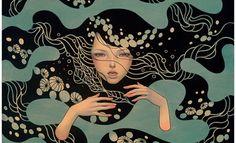 Art Nouveau y Manga japonés en la pintura de Audrey Kawasaki