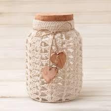 Resultado de imagen para tarros crochet Crochet Vase, Thread Crochet, Love Crochet, Crochet Motif, Irish Crochet, Crochet Crafts, Crochet Projects, Knit Crochet, Mason Jars
