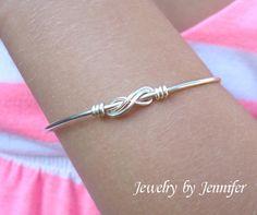 Silver Infinity Knot Wire Wrap Bracelet by JenniferWittHayes, $14.00