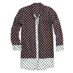 J.Crew - Silk nightshirt in colorblock dot