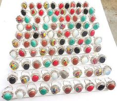 girl's fashio JEWELRY MIX GEMSTONE WHOLESALE LOT 100PCS 925 SILVER OVERLAY RING!