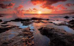 Пейзажи: берег,  море,  облака,  солнце,  закат