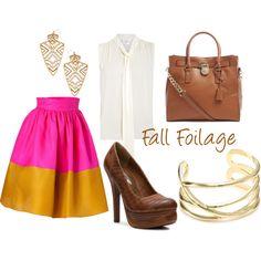 """Fall Foilage"" by refinedandpolished on Polyvore - the bag+skirt+bangle = <3"