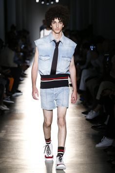 Insanely great ribbed denim with sharply tailored denim shorts: Ports 1961 Spring 2018 Menswear
