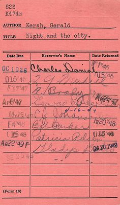 """The """"old days"""" library cards...remember checking books out of the library this way?"""