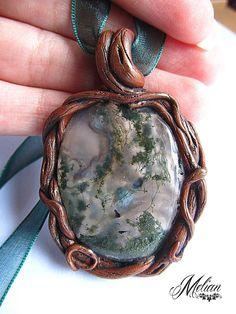 Moss agate pendant moss agate necklace healing by MelianArt