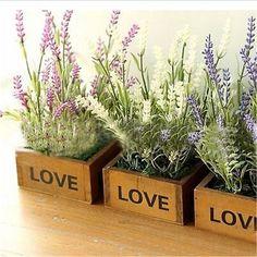Cute Wooden Succulent Plant Pot Flower Bed Pot Garden Letter Planter Natural Square Box