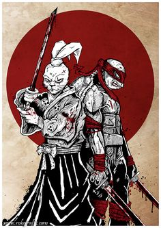 Usagi Yojimbo and Leonardo TMNT by *Robgrafix on deviantART